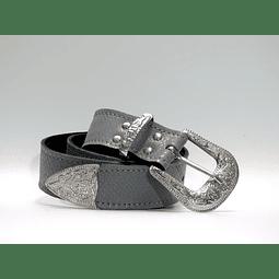 Cinturón cuero gris