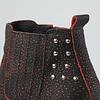 Botín cuero negro jazpeado rojo