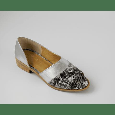 Sandalia cuero plata pitón