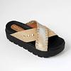 Sandalia goma alta cuero beige y metalizado