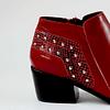 Botín cuero richato rojo punta cuero diseño boa