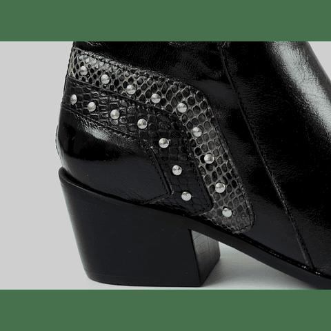Botín cuero negro talón aplicación cuero diseño pitón y tachas
