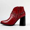 Botín taco alto cuero richato rojo con hebilla rock y correas cuero diseño pitón