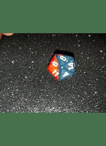 Dado 20 caras - Chessex - Azul medianoche rojo
