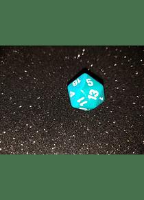 Dado 20 caras - Chessex - Verde azul