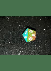 Dado 20 caras - Chessex - Verde cobrizo / Azul