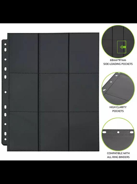 Micas Hojas para carpeta 9 espacios negras sideloader (precompra)