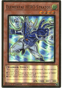 Elemental HERO Stratos (Alternate Art) - MAGO-EN004 - Premium Gold Rare