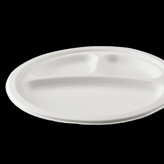 PLATO BIODEGRADABLE 9´´3DIV 23CM 50 UN