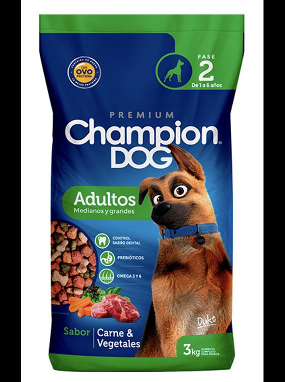 Champion Dog - Adulto - Razas Medianas y Grandes - Carne y Vegetales - 18kg