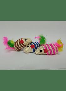 Trio Ratones Con Pluma - Juguetes Para Gatos
