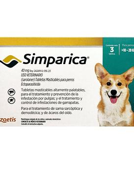 Simparica Perros 10 - 20 Kg  3comprimidos