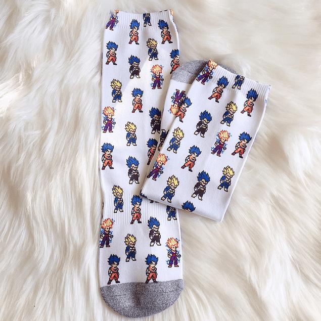Calcetas Largas Goku y Vegeta pixel