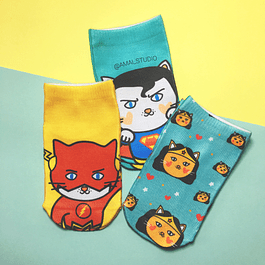 CALCETINES GATOS SUPERHEROES
