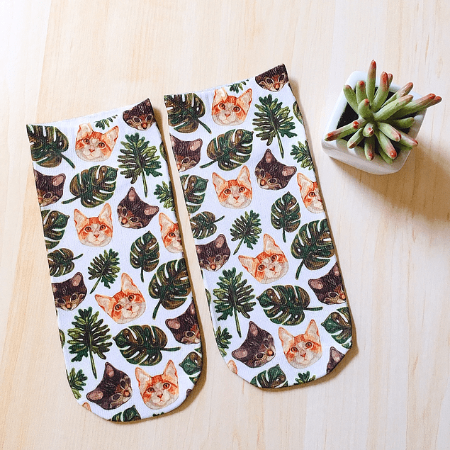 CALCETINES MONSTERA Y GATOS