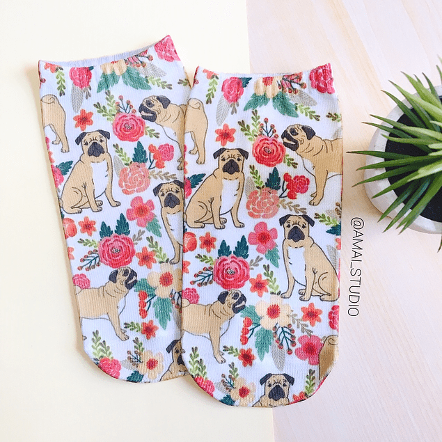 CALCETINES PUG FLORES