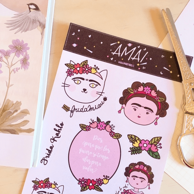 SET STICKERS GLITTER FRIDA CATLO