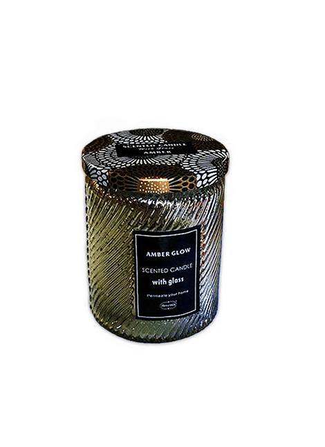 Vela Aromatica H. Fragance Ámbar resplandor Vidrio Tallado