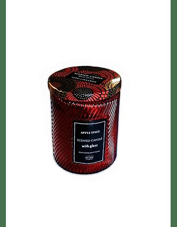 Vela Aromatica H. Fragance Especias de Manzana Vidrio Tallado