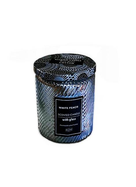 Vela Aromatica H. Fragance Durazno Blanco Vidrio Tallado