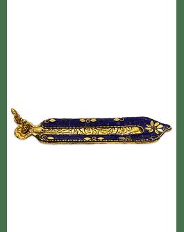 Porta Incienso Color Dorado c/ Aplicaciones de color Azul VDQ20-53