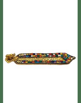 Porta Incienso Color Dorado c/ Aplicaciones de colores VDQ20-53