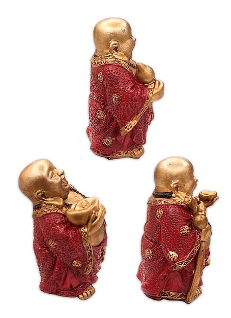 """Figura buda Dorado y Sonriendo  Poliresina 4"""" Ji19-036"""