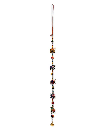 Colgante Tira de Elefantes  Pintado  SLV19-146