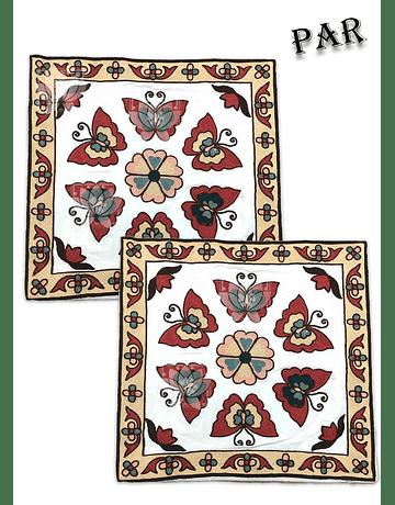 Funda de Cojín Bordado JI19-308 Roja