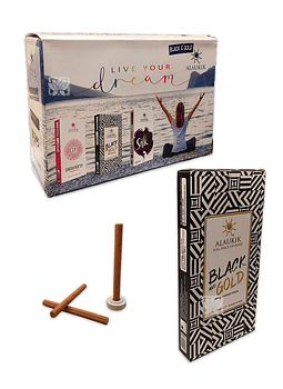 Incienso Alaukik Premium Dhoop 50Gr Black & Gold
