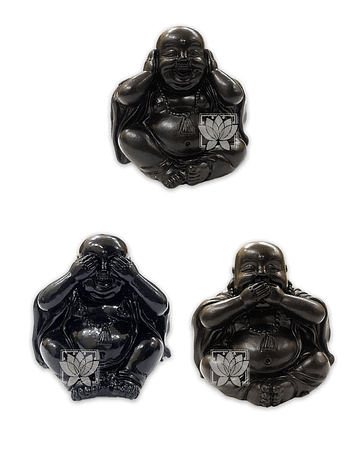 Figura Buda Negro Ciego, Sordo y Mudo, Poliresina 2