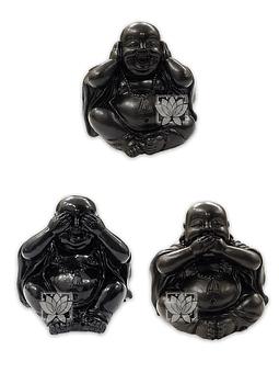 "Figura Buda Negro Ciego, Sordo y Mudo, Poliresina 2"" JI21-25"