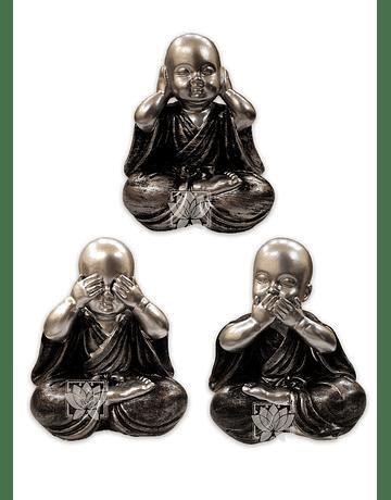 Figura Buda Joven  Gris Ciego, Sordo y Mudo  5