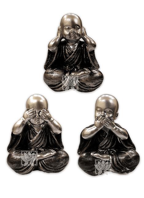 "Figura Buda Joven  Gris Ciego, Sordo y Mudo  5"" JI21-26"