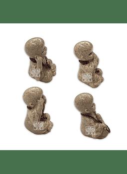 """Set Figura Buda Ciego Sordo y Mudo  Poliresina  2"""" JI21-67"""