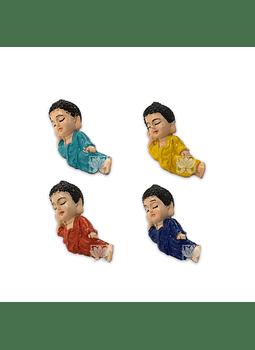 "Set Figura Budha Acostado  Poliresina  1,5"" JI21-66"