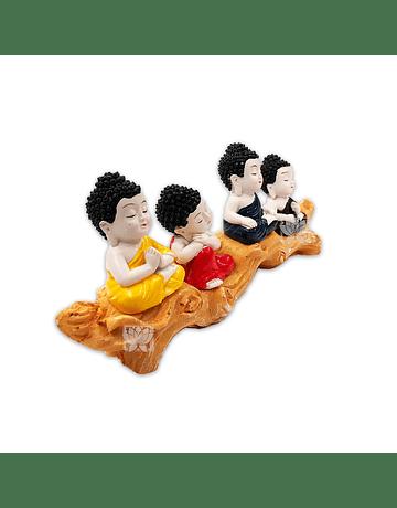 "Set Figura Budha  Poliresina Pedestal   4"" JI21-73"