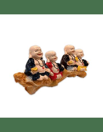 """Set Figura Buda  Poliresina Pedestal   3,5"""" JI21-72"""