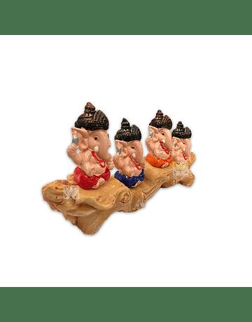 "Set Figura Ganesh  Poliresina Pedestal   3,5"" JI21-71"