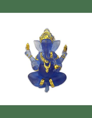 Diosa Ganesh en Poliresina Mediana  Azul Transparente  7