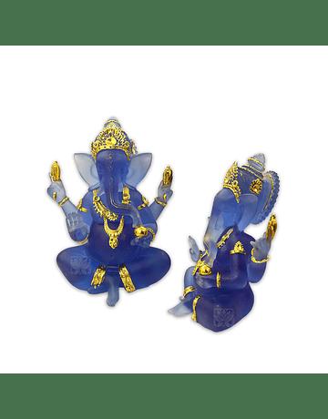 "Diosa Ganesh en Poliresina Mediana  Azul Transparente  7"" JI21-10"