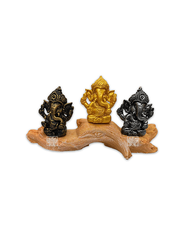 Set Figura Ganesh  Poliresina Pedestal   3,5