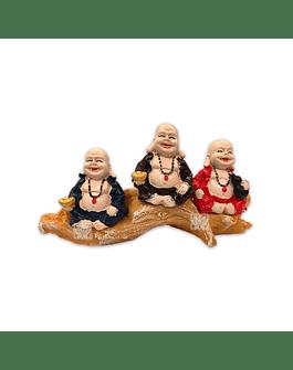 """Set Figura Buda  Poliresina Pedestal   3,5"""" JI21-65"""