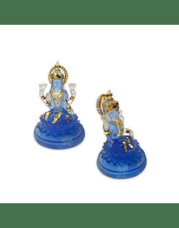 "Diosa lakshmi Pequeña  Azul Transparente 4"" JI21-12"