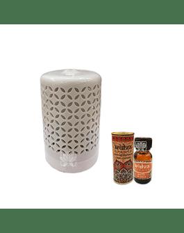 Difusor Humidificador Cilindro Cerámica + Esencia Krishna 15 ml