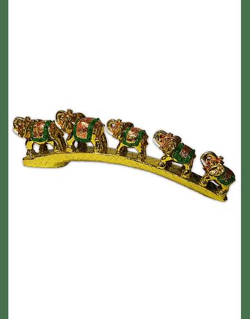 Fila Elefantes Dorado con Verde  11cm