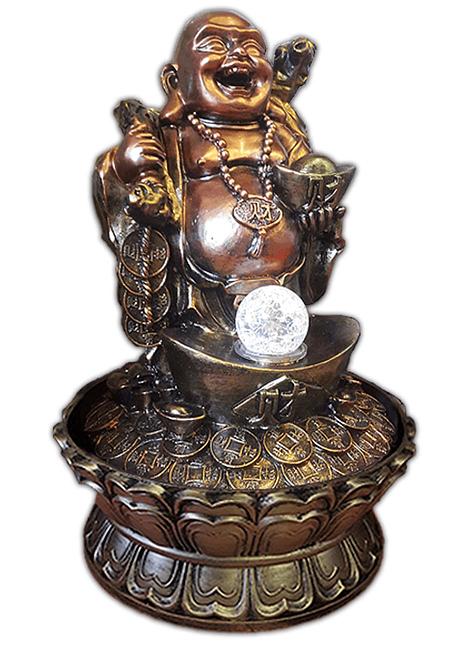"""Pileta de Agua Budha en Cuenco con Monedas y Esfera 16"""""""