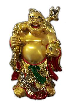 """Buda Grande Dorado Con Moneda 16"""""""