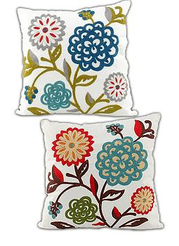 Funda De Cojín Bordado Diseños Flor Blanca