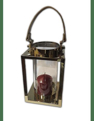 Lámpara Candelabro Vidrio Cuadrado Med. 22.5x14cm